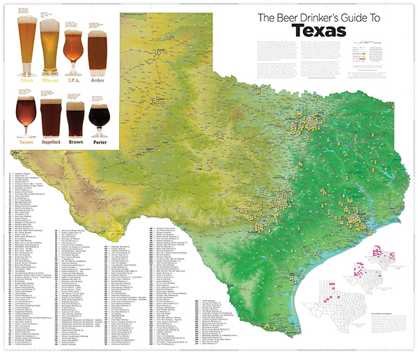 Texas Breweries Map Beer Drinker's Guide to Texas